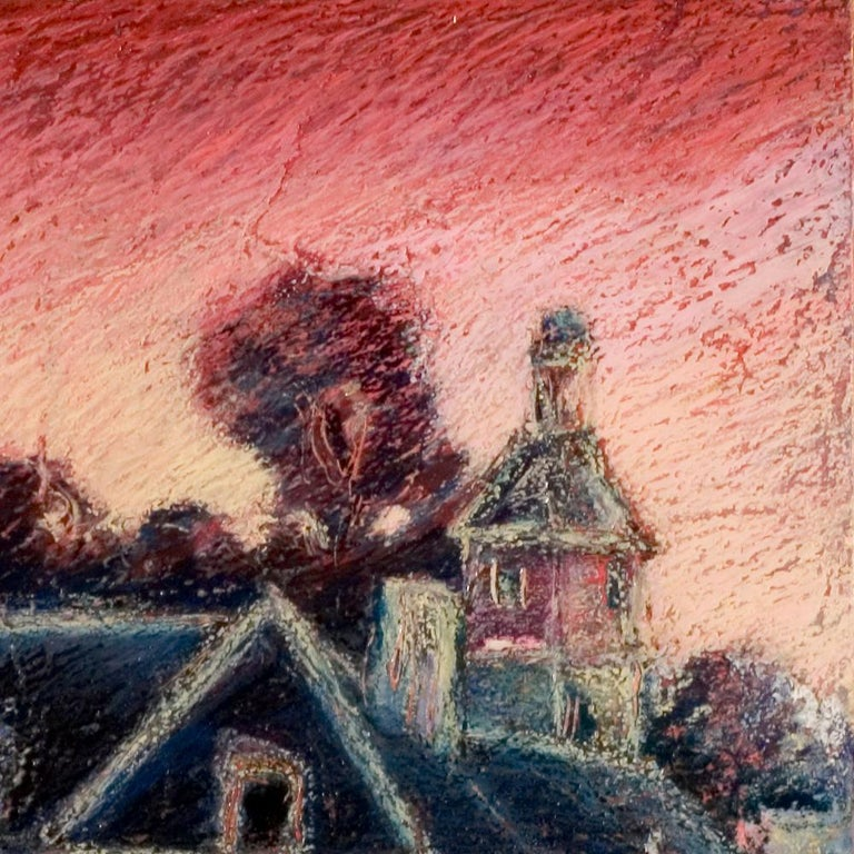 View of the Saint-Goustan Port at Sunset Oil Pastel For Sale 9