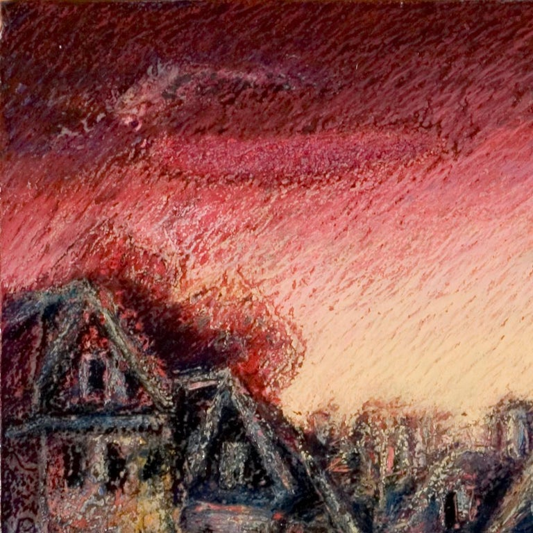View of the Saint-Goustan Port at Sunset Oil Pastel For Sale 10
