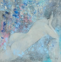 Desnuda, Nude Woman Laying on her Stomach with Blue Background Acrylic Painting