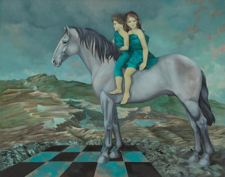 """Françoise Duprat Landscape Painting - """"Runaways"""", Children Riding a Horse Large Oniric Symbolist Oil Painting"""