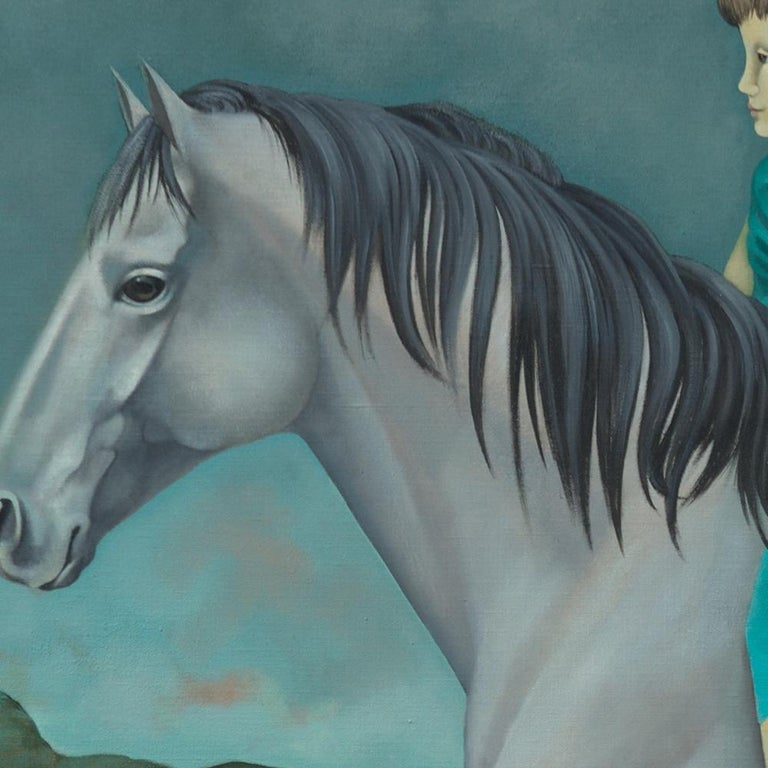 This painting is an early work from the figurative, symbolist artistic period of Françoise Duprat, who nowadays paints mostly abstract paintings.  This artwork depicts two children (presumably a boy and a girl) riding a white/grey horse, draped in