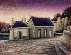 Two Small Houses with Roof in Slate at Sunset Oil Pastel