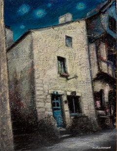 House with Blue Wood Door and Sloping Roof at Night Oil Pastel