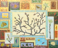 """Buds"", Patchwork of Sprouting Shoots and Tree Leaves Acrylic Painting"
