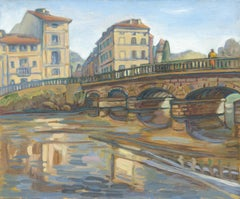 """Brantôme's Bridge"", River and Buildings Impressionist Landscape Oil Painting"