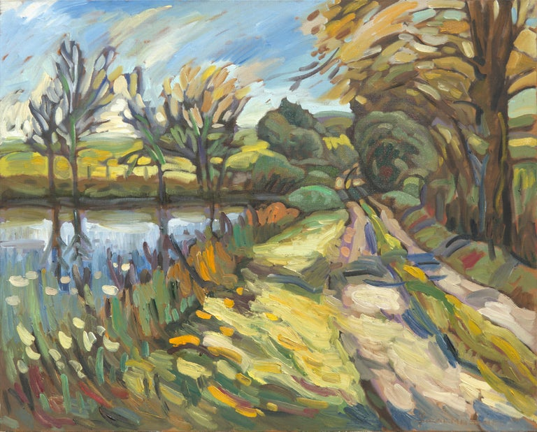 """Yves Calméjane Figurative Painting - """"Encounter"""", Dirt Road by a Pond Impressionist Rural Landscape Oil Painting"""