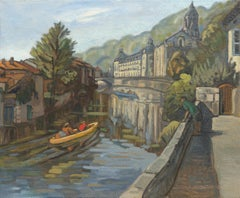 """Villégiature au fil de l'eau"", Canoes in the River Towards Abbey Oil Painting"