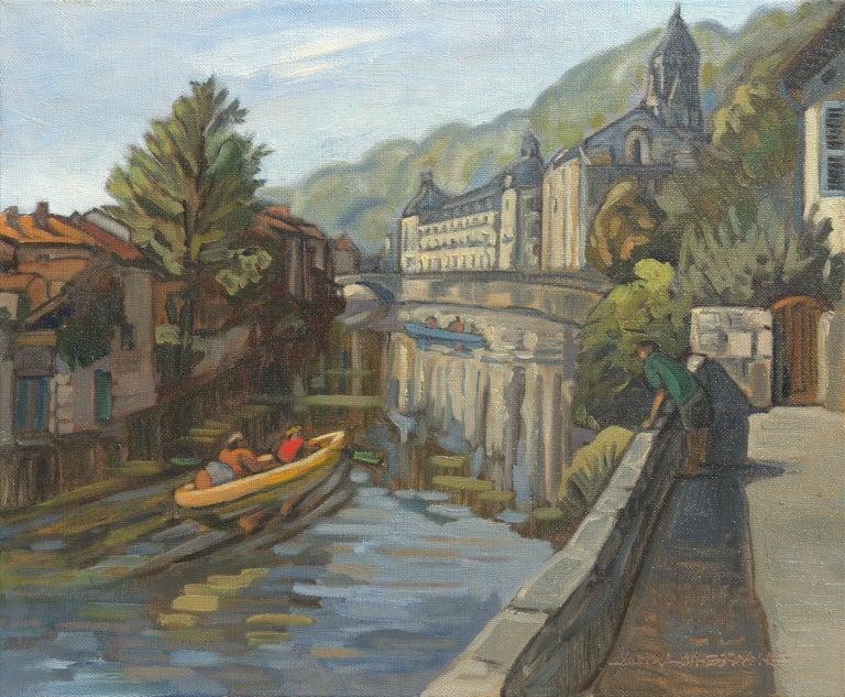 """Yves Calméjane Landscape Painting - """"Villégiature au fil de l'eau"""", Canoes in the River Towards Abbey Oil Painting"""
