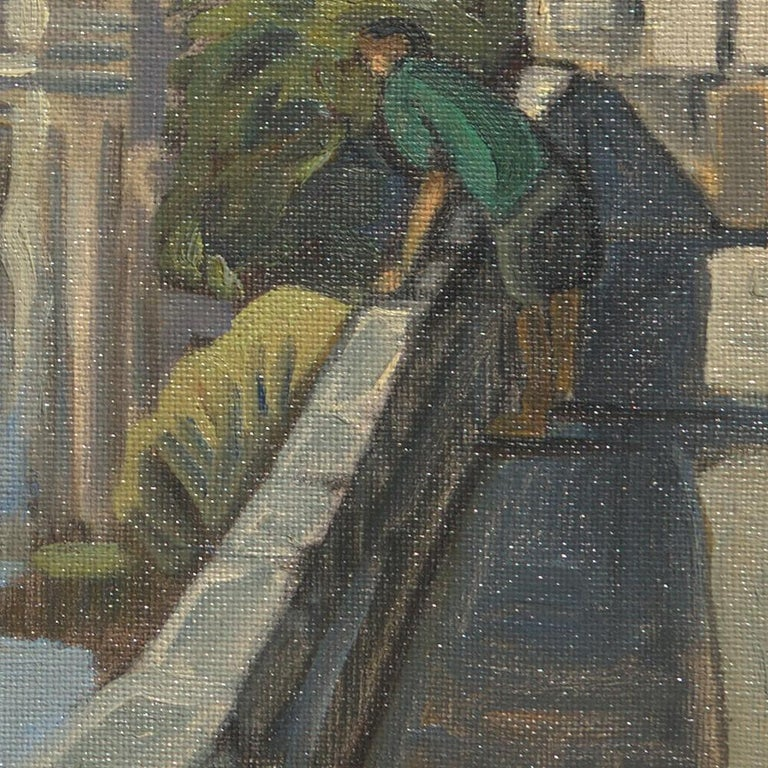 This artwork depicts the view of the Dronne river in Brantôme, the