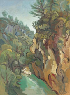 """""""The Carmes Valley"""", Stream, Cliff, Forest Impressionist Landscape Oil Painting"""