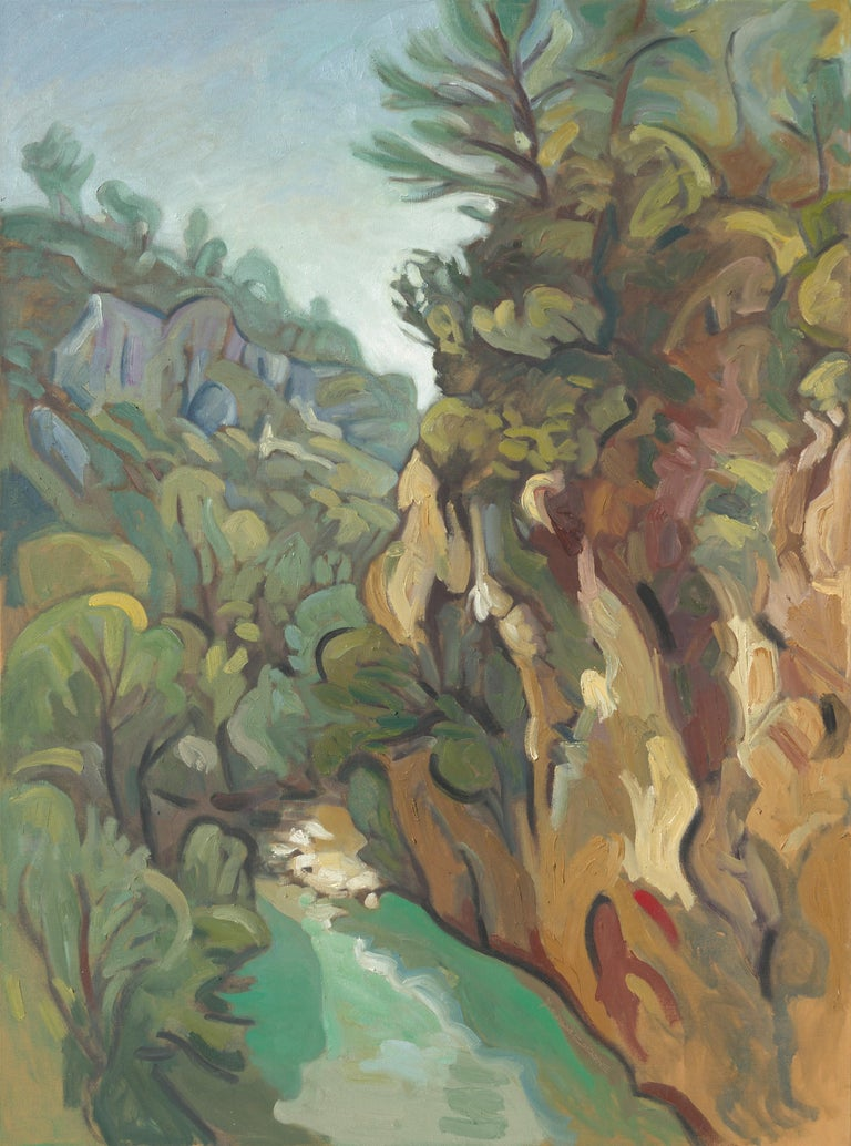 """""""The Carmes Valley"""", Stream, Cliff, Forest Impressionist Landscape Oil Painting 1"""