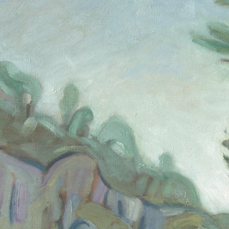 This large artwork depicts a stream running along a wooded cliff, near Barjols, in French Var.  Yves Calméjane usually uses light impasto techniques, with the weft of the canvas often still visible. The reliefs are quite thin, the painting often