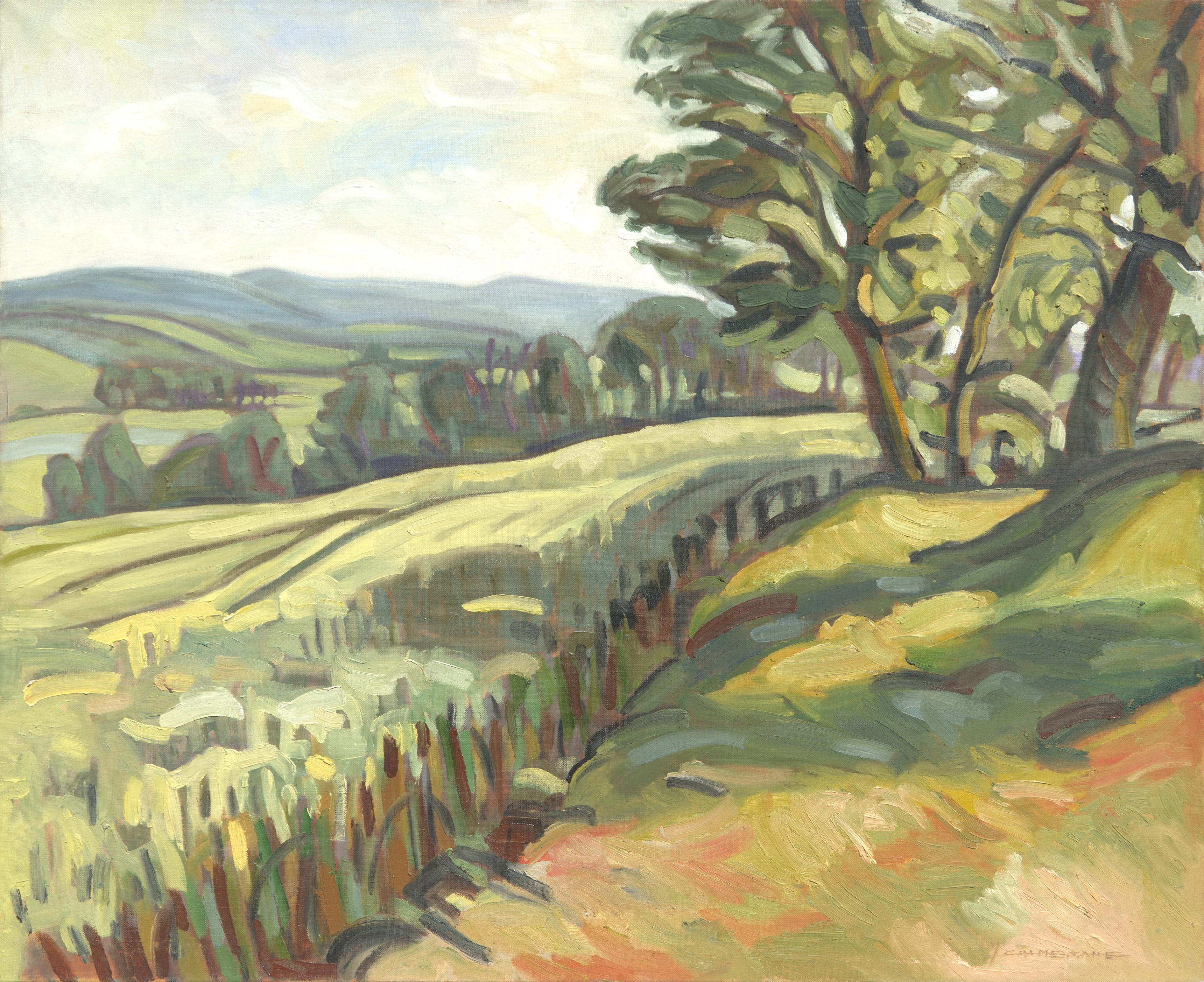 """""""Trees on Fields"""", Green Summer Rural Landscape Impressionist Oil Painting"""