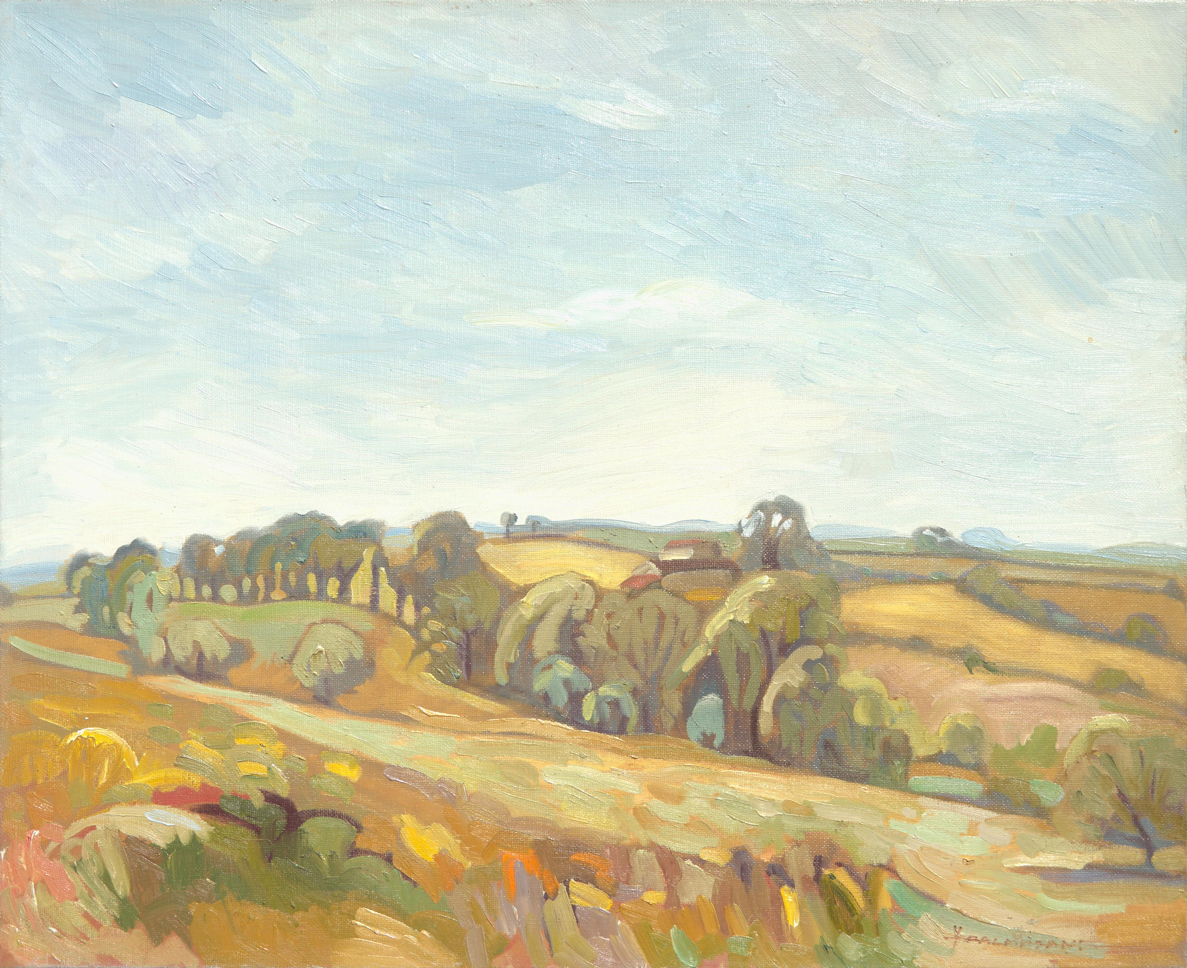 """""""Grove"""", Summer Hills Rural Yellow Landscape Impressionist Oil Painting"""