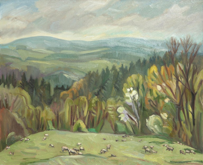 """Yves Calméjane Landscape Painting - """"The Sheeps"""", Graze, Forest and Hills Green Impressionist Landscape Oil Painting"""