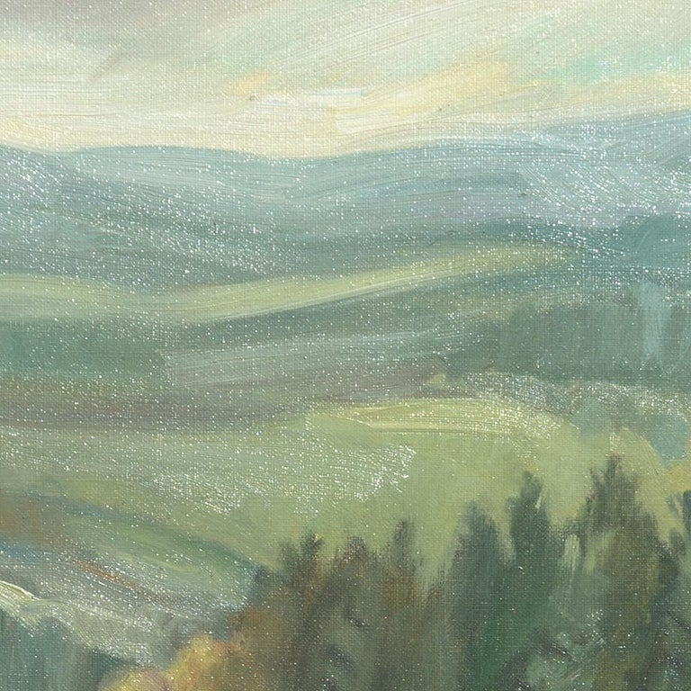 This artwork depicts sheeps grazing in a prairie bounded by deciduous trees, behind which a softwood forest is visible.  Hills extend on the background.  Yves Calméjane usually uses light impasto techniques, with the weft of the canvas often still