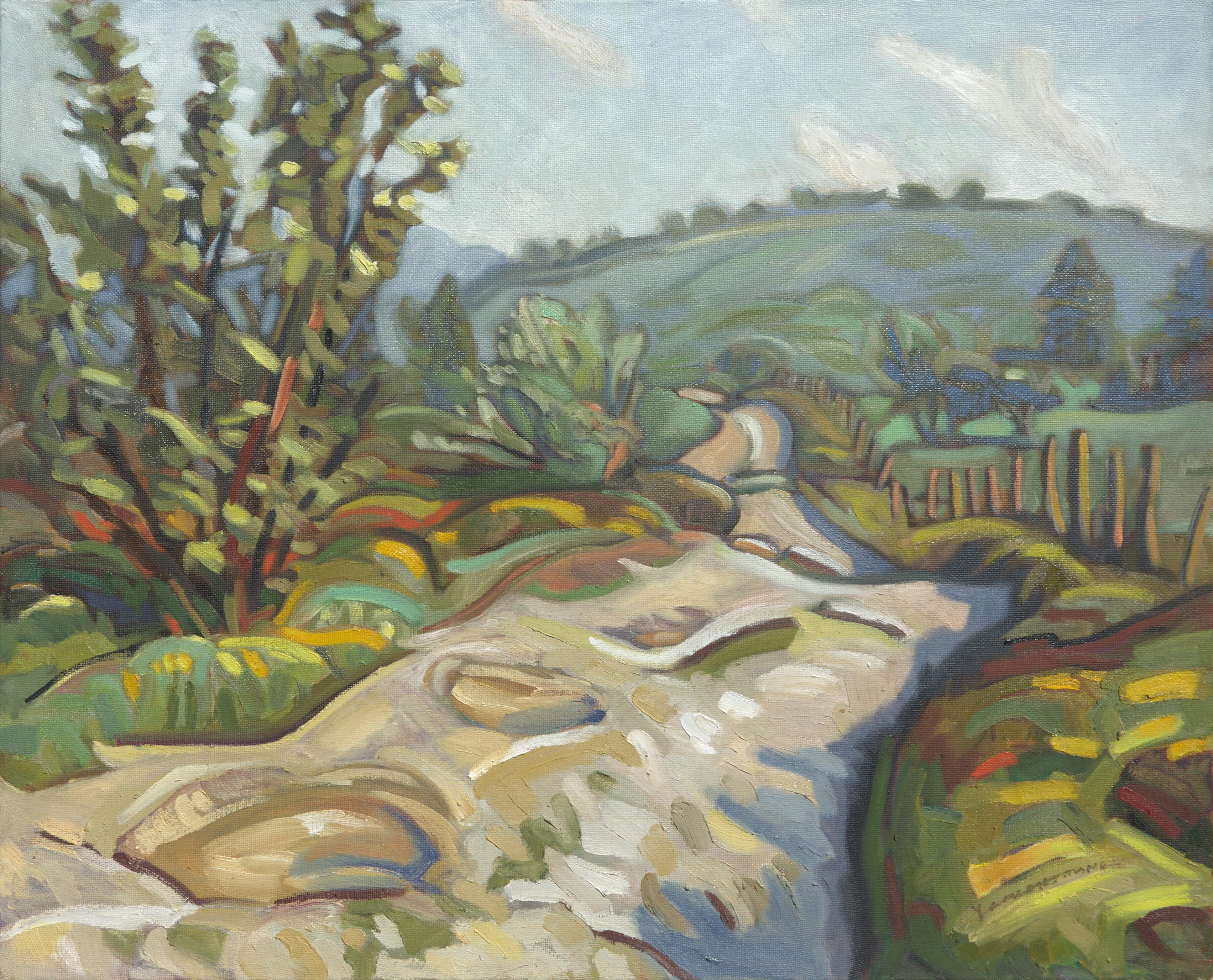 """Pathway of the Mica Sheets"", Rural Impressionist Landscape Oil Painting"