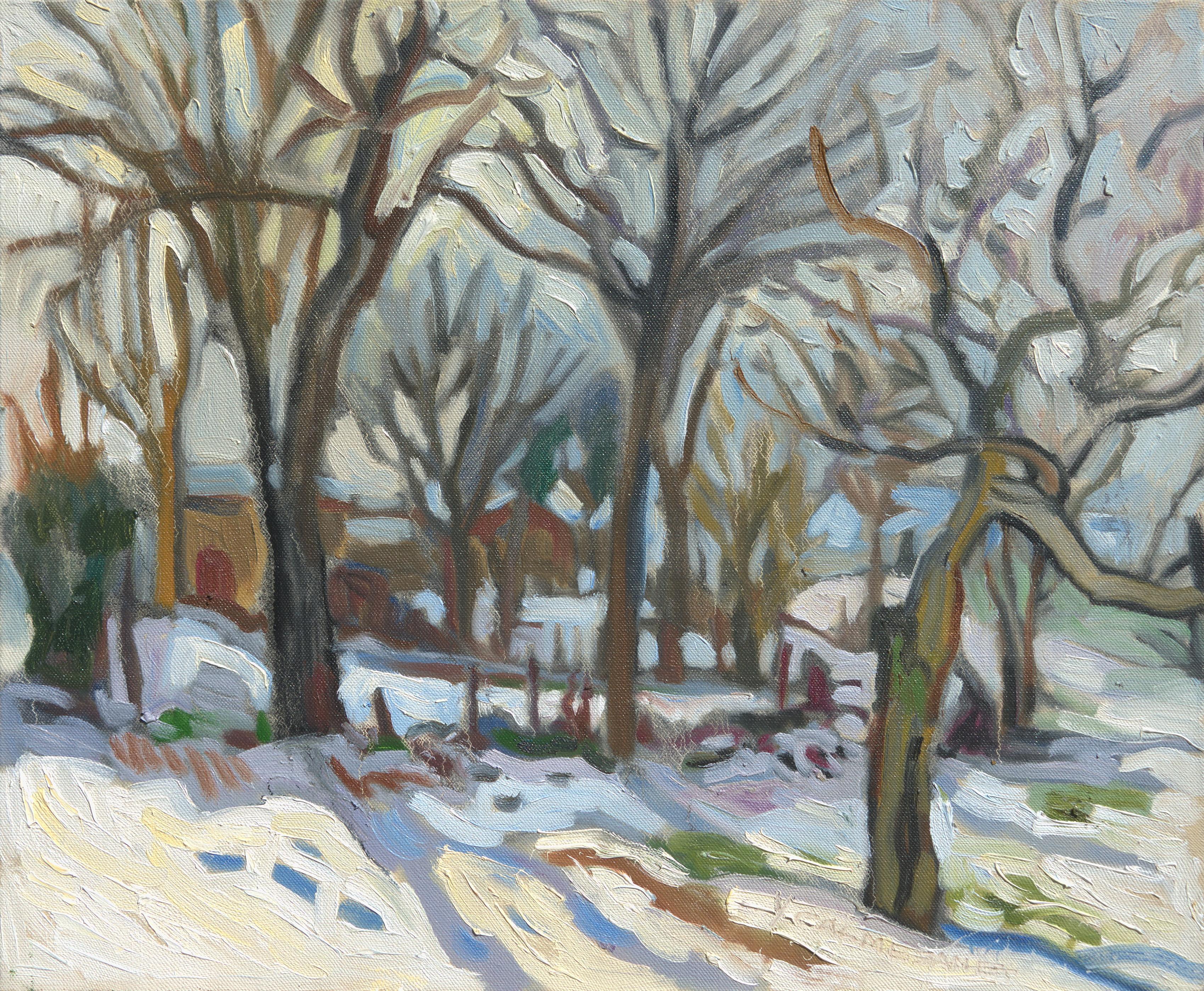 """White Gardens"", Winter Rural Landscape Impressionist Oil Painting"