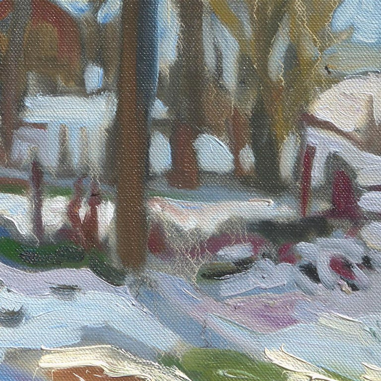 This artwork depicts gardens in winter, covered with snow, and many trees, through which houses are visible.  Yves Calméjane usually uses light impasto techniques, with the weft of the canvas often still visible. The reliefs are quite thin, the