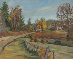 """Autumn Road"", Rural Landscape with Cows Impressionist Oil Painting"