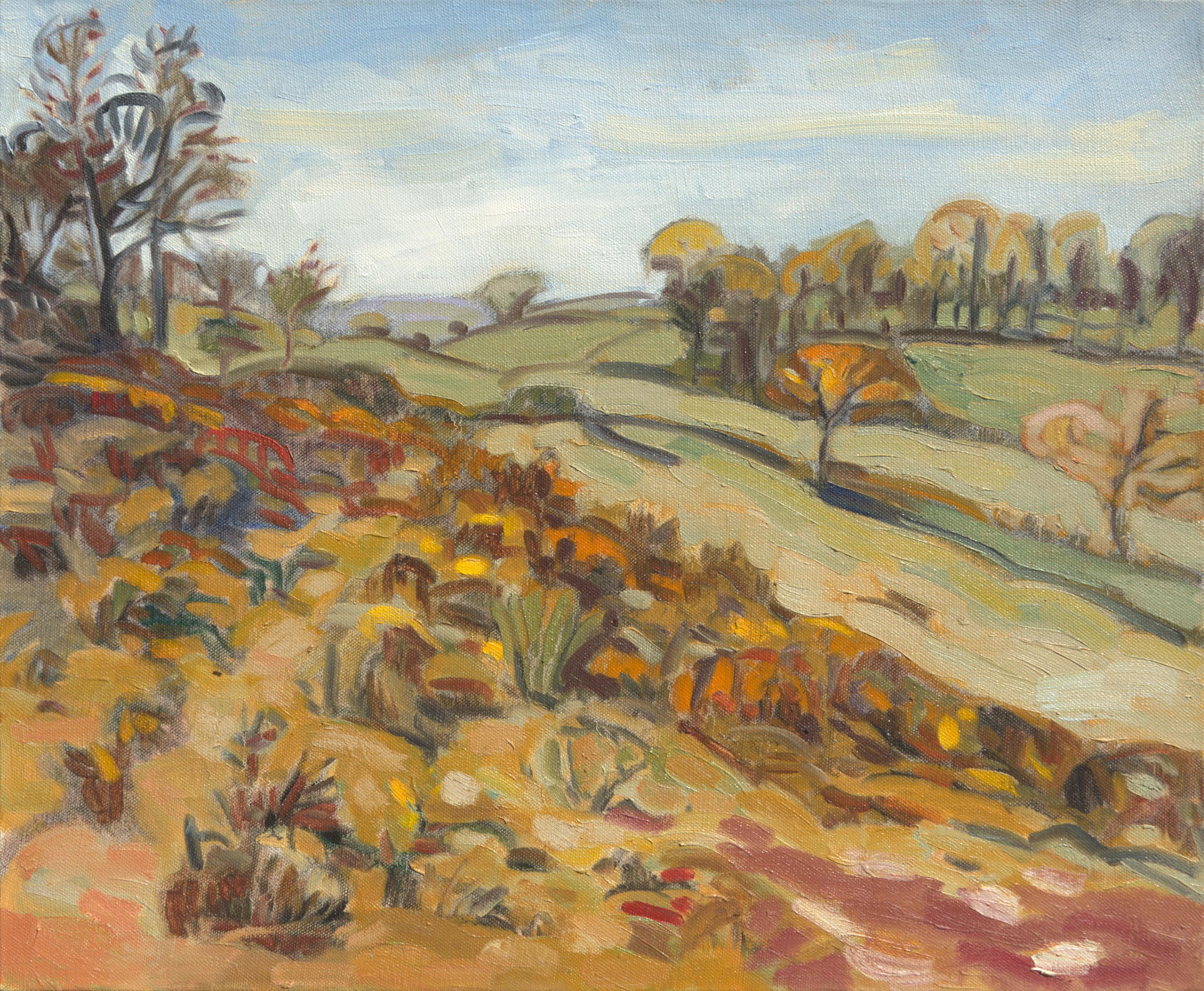 """Prairie with Ferns"", Warm Automn Rural Landscape Impressionist Oil Painting"