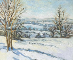 """The White Theater"", Winter Rural Landscape Impressionist Oil Painting"
