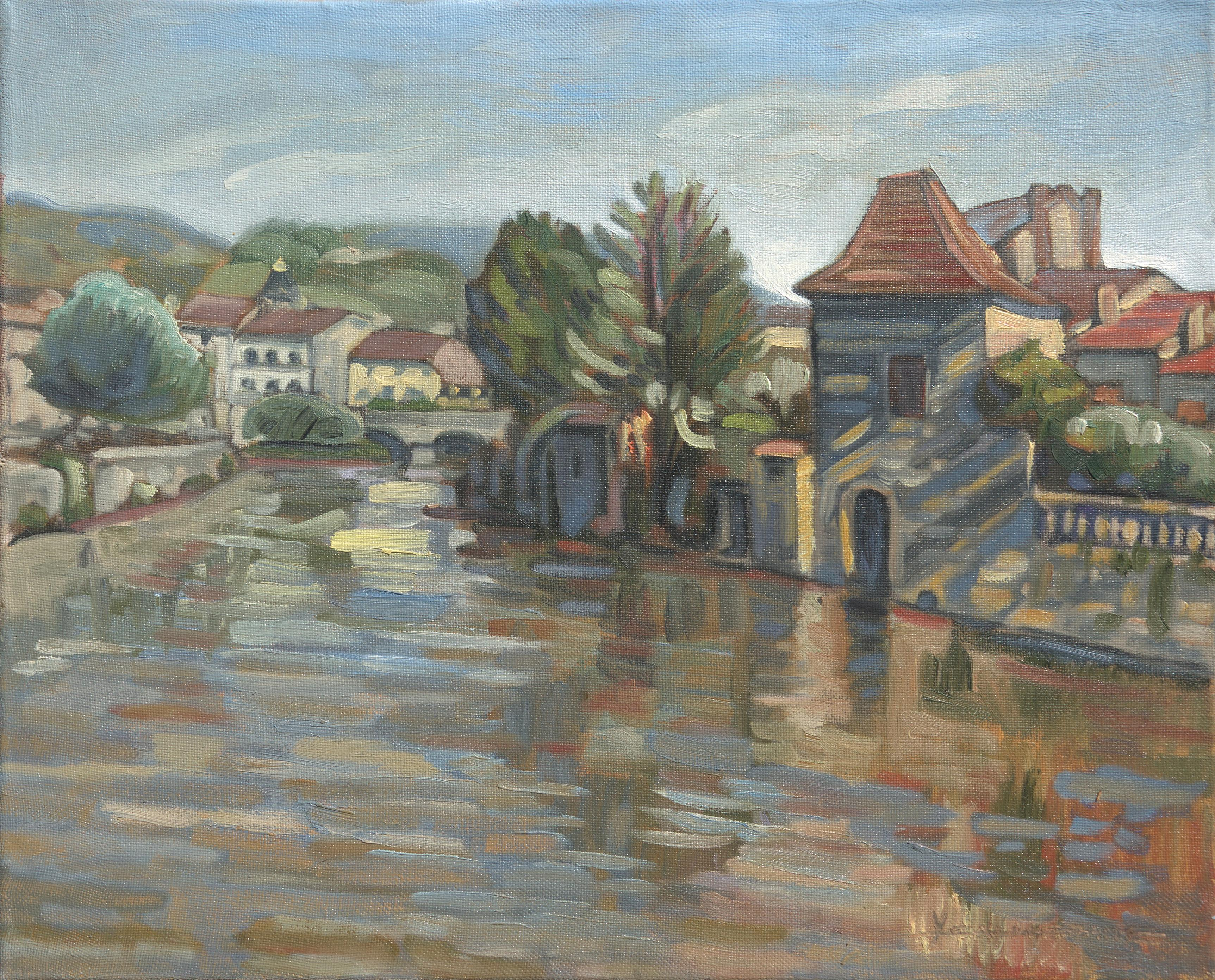 """""""The Water Gate"""", Rural Town River Landscape Impressionist Oil Painting"""