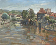 """The Water Gate"", Rural Town River Landscape Impressionist Oil Painting"