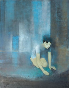 """At the Gates of the Palace"", Boy on his Knees Blue and Cyan Abstract Painting"