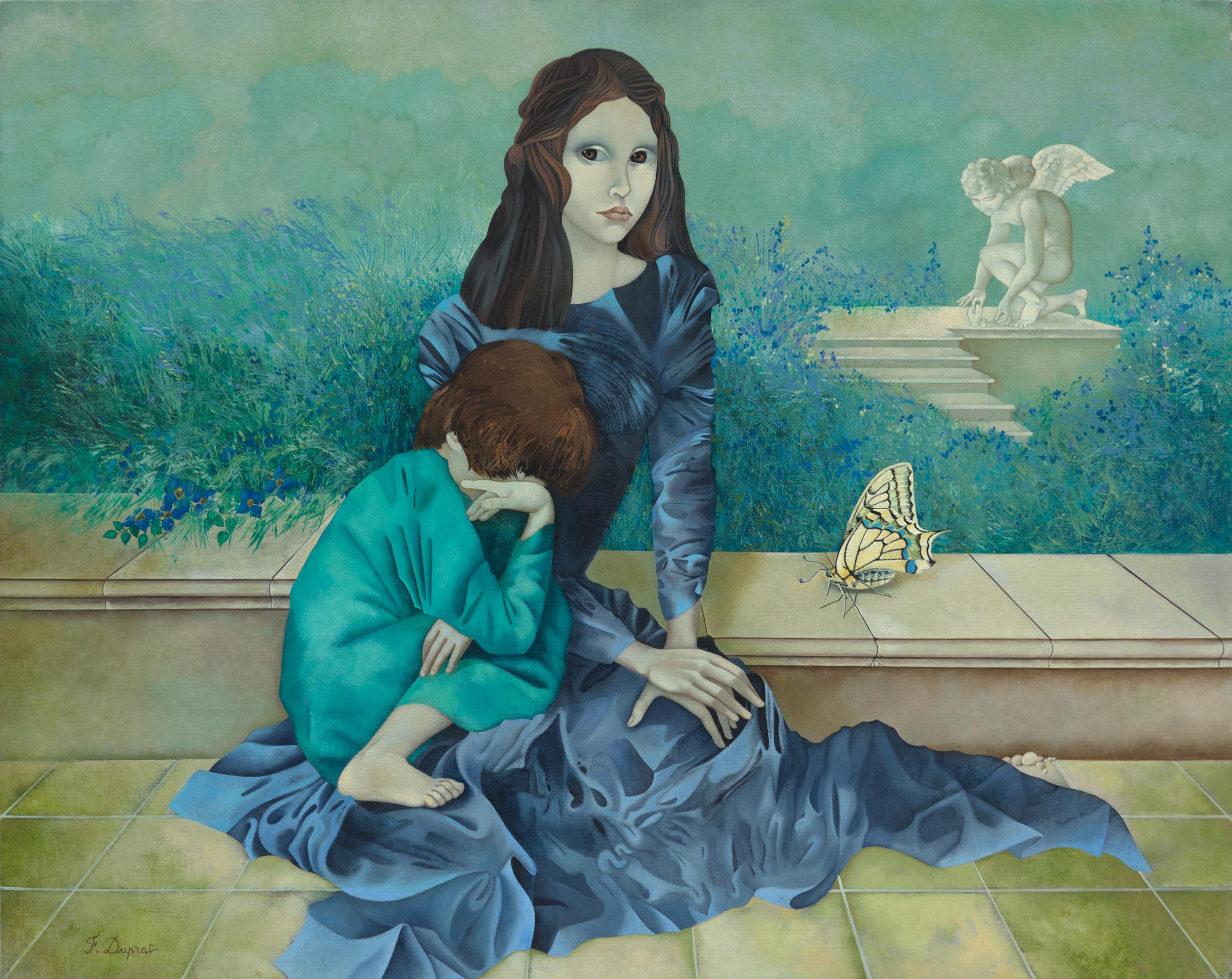 """""""The Past"""", Woman and Child with Large Butterfly Blueish Symbolist Oil Painting"""