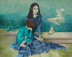 """The Past"", Woman and Child with Large Butterfly Blueish Symbolist Oil Painting"