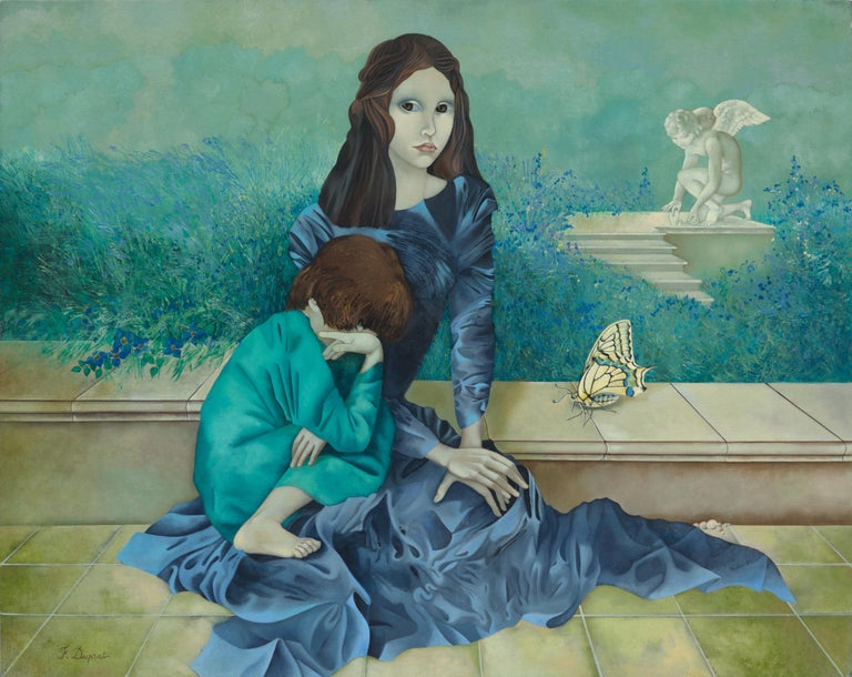"Françoise Duprat Landscape Painting - ""The Past"", Woman and Child with Large Butterfly Blueish Symbolist Oil Painting"