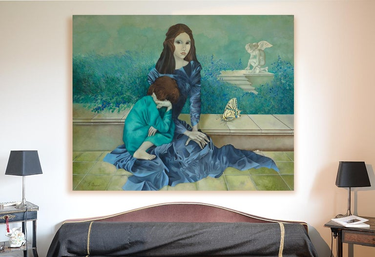 This artwork is an early work from the figurative, symbolist artistic period of Françoise Duprat.  It depicts a brown-haired woman in a long blue dress, sitted on a low wall, hands on her knee, a child with turquoise clothes leaning against her.