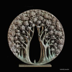 """The temple"", Small Character in a Forest Circular Figurative Bronze Sculpture"