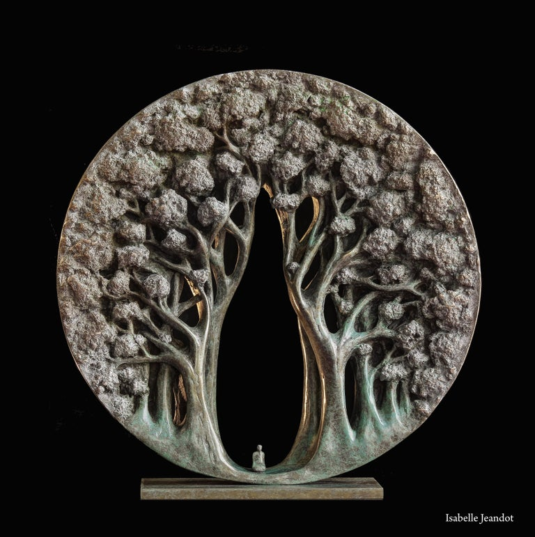 "Isabelle Jeandot Still-Life Sculpture - ""The temple"", Small Character in a Forest Circular Figurative Bronze Sculpture"