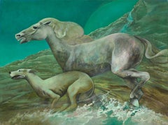 """The Race"", Horse and Greyhound Running in Water Green Symbolist Oil Painting"