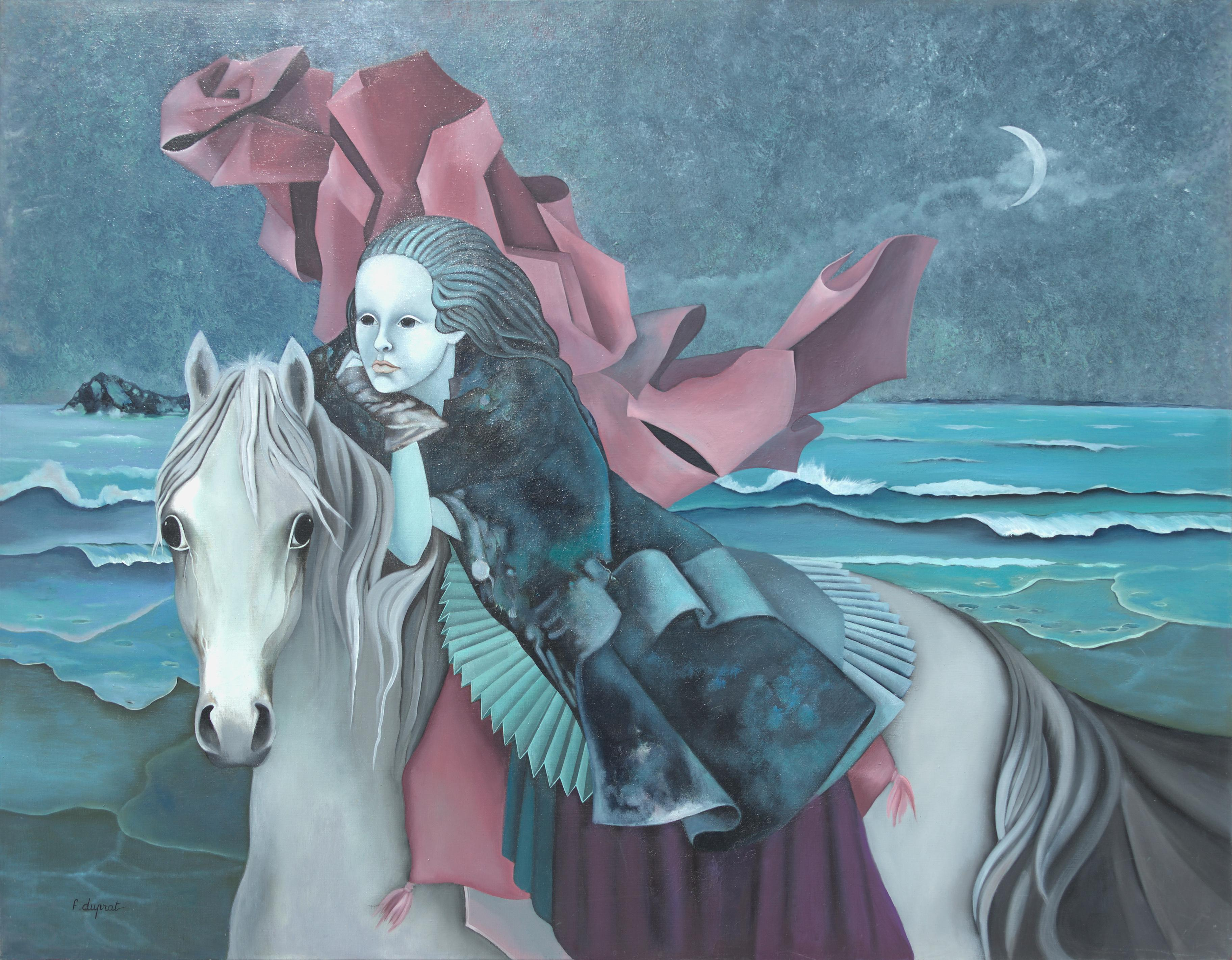"""""""The Dream"""", Woman Riding a Horse by Night on the Beach Symbolist Oil Painting"""
