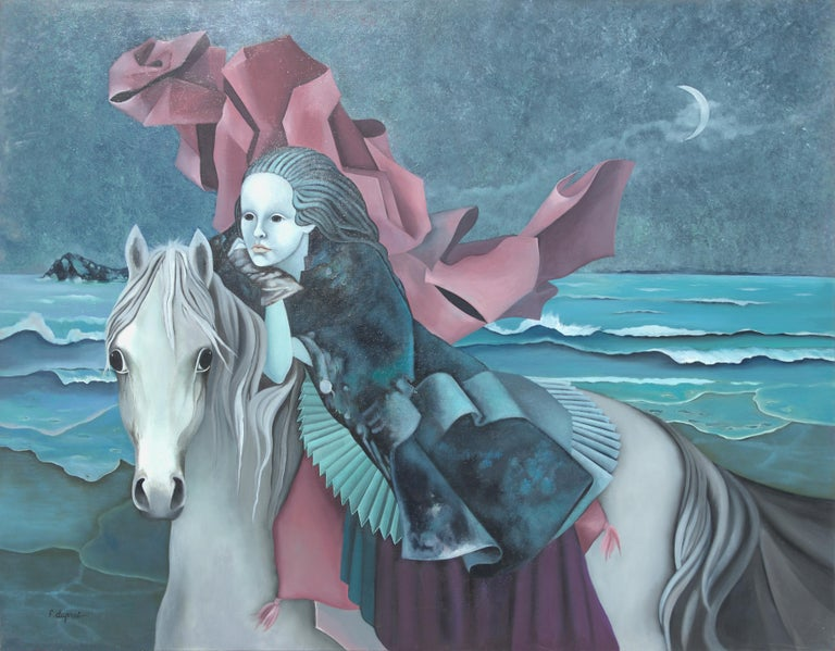 "Françoise Duprat Landscape Painting - ""The Dream"", Woman Riding a Horse by Night on the Beach Symbolist Oil Painting"