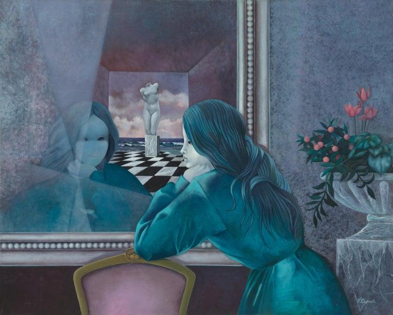 "Françoise Duprat Landscape Painting - ""The Secret"", Woman Looking in the Mirror Symbolist Oil Painting"