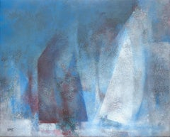 """Regatta"", Red, White and Blue Racing Ships Abstract Acrylic Painting"