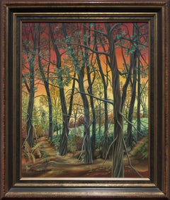 """Forest"", Deciduous Trees at Sunset Landscape Naive/Primitivist Acrylic Painting"