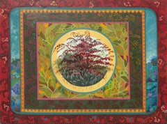 """The Red Tree"", Multi-Layered Landscape Naive/Primitivist Acrylic Painting"