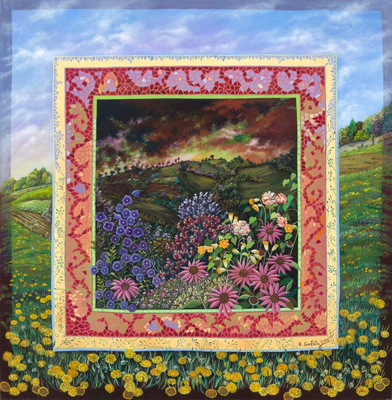 The center of this artwork depicts various flowers on the foreground, contrasting with the dark sky of the rural landscape in the background.  This scene is framed with several mozaic-like rectangular areas.  The ensemble is painted over a bucolic