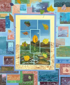 """Prisms"", Patchwork of Leaves and Landscapes Naive/Primitivist Acrylic Painting"