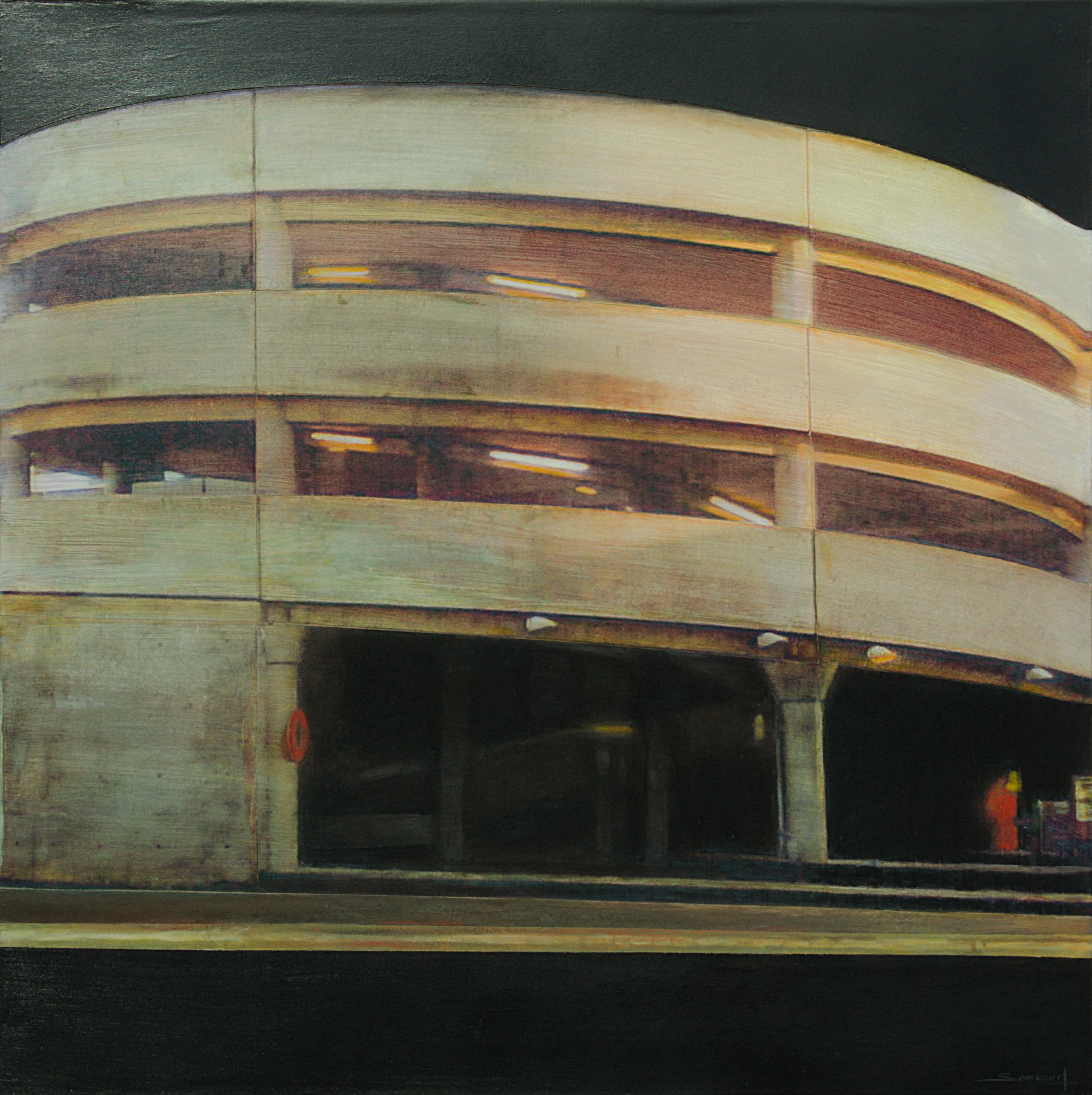 """""""Architecture #3"""" Above-Ground Cylindrical Parking Structure at Night with Neons"""