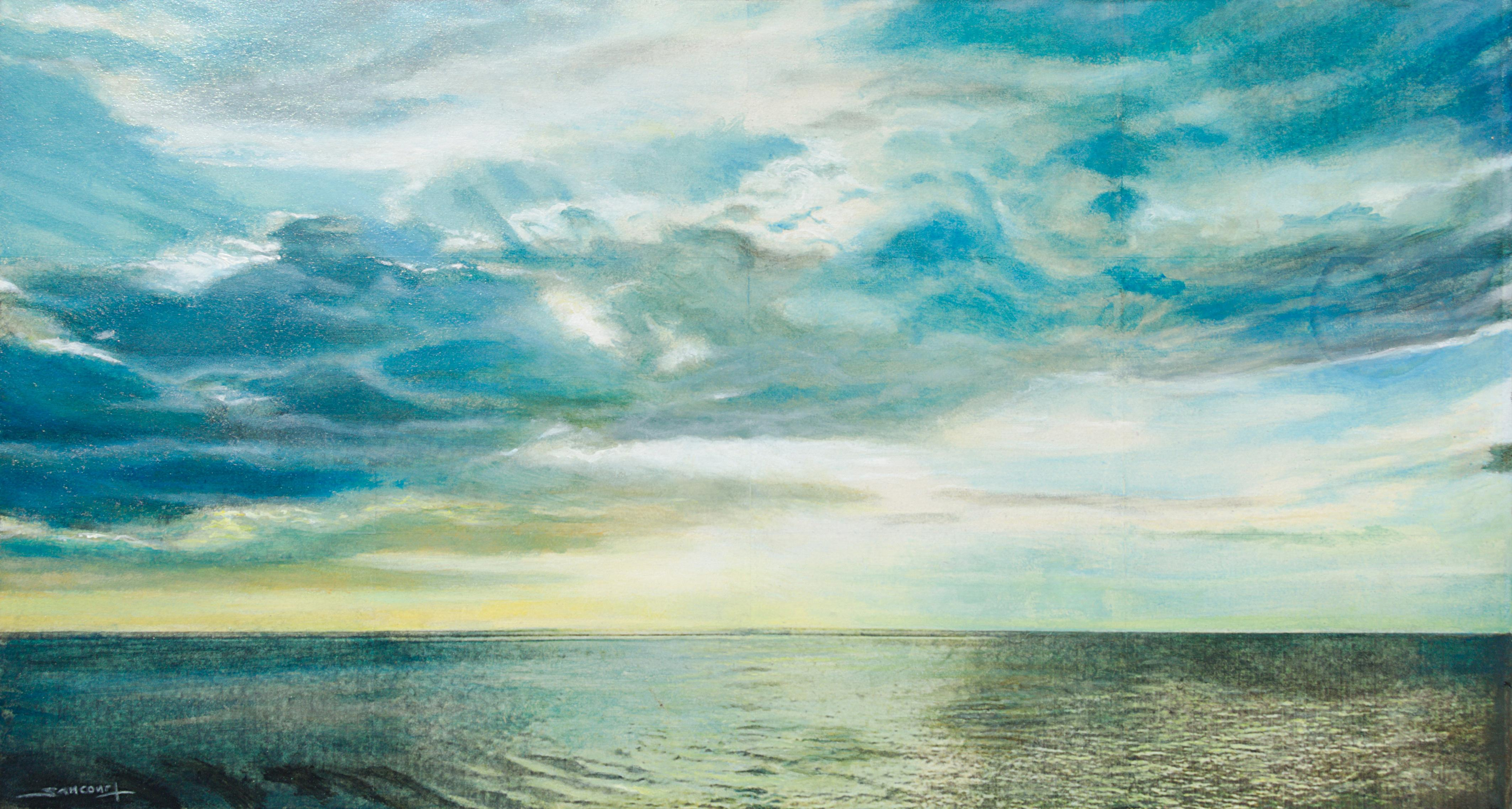 """""""Seaside #27"""", Sea, Clouds and Sun Marine Landscape Mixed Media Painting"""