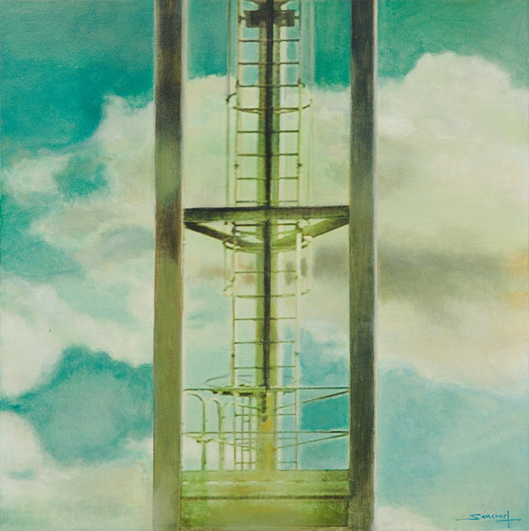 This artwork depicts a close view of a ladder inside a pylon or an industrial tower, with clouds on the background.  This piece was created with a mixed technique of acrylic painting on photograms on rice paper mounted on a wood panel.  Some edges