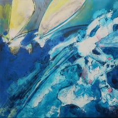 """Windsurf"", Aniseed Sails on a Large Wave Mixed Media Oil Painting"