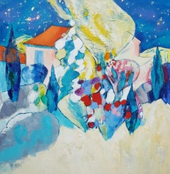 """Starry Night on the Entrechaux Garden"", Modern Landscape Mixed Media Painting"