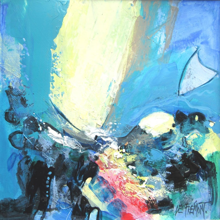 """Andrée de Frémont Figurative Painting - """"Sun on the Sea"""", Large Colorful Squared Marine Landscape Mixed Media Painting"""